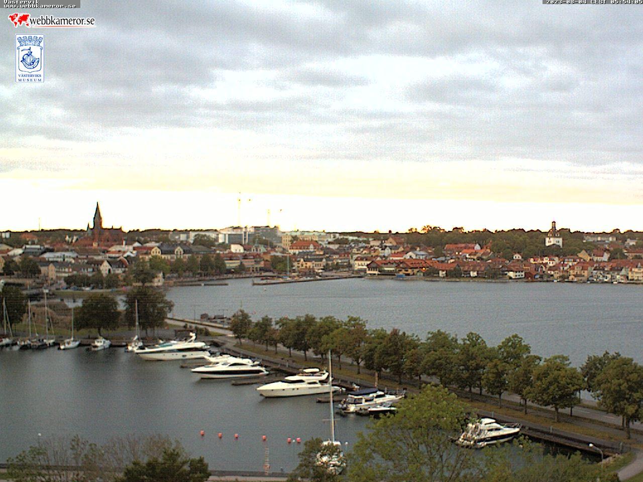 Webbkamera mot Slottsholmen, Gamlebyviken.